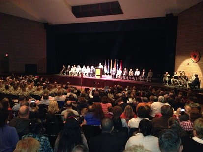 Plymouh High School Auditorium Filled with supporters at the National Guard Unit gets sent off Saturday morning