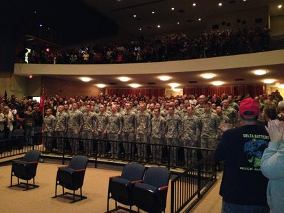 National Guard Unit Gets Sendoff at Plymouth High School Saturday morning