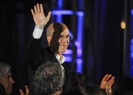 Movie producer Jeffrey Katzenberg waves at the audience at the 2nd Annual Reel Stories, Real Lives event benefiting the Motion Picture & Tel