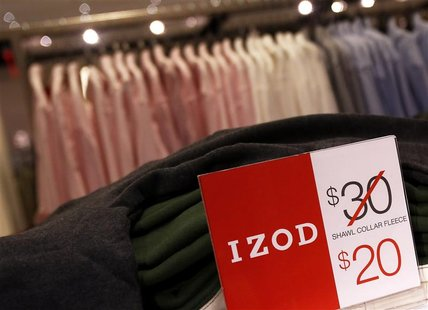 Price markdowns are seen in the Izod section at the J.C. Penney Herald Square department store location is seen in New York November 27, 201