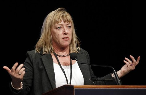 Professor Jody Williams, 1997 Nobel Peace Prize winner, speaks during the opening ceremonies of the 12th World Summit of Nobel Peace Laureat
