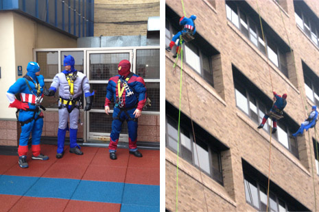 Brightway Window Service staff dressed as superheros for a days work outside of St. Joseph's Hospital's pediatrics unit.