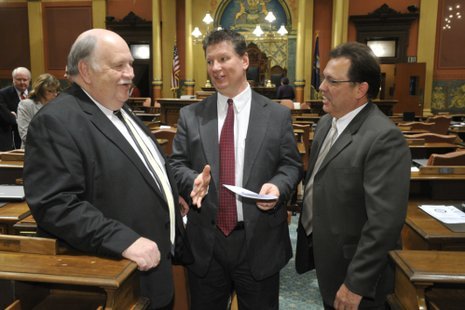 State Representative Ken Kurtz (left) in the Michigan State House Chambers