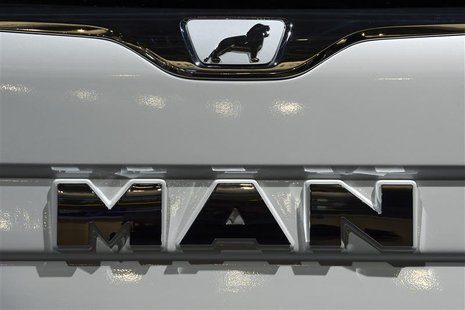 Logo of German truckmaker MAN, is pictured at the IAA truck show in Hanover, September 18, 2012. Picture taken September 18. REUTERS/Fabian