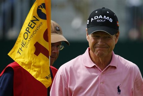 Tom Watson of the U.S. smiles as he walks off the 18th green during the third round of the British Open golf championship at Royal Lytham &