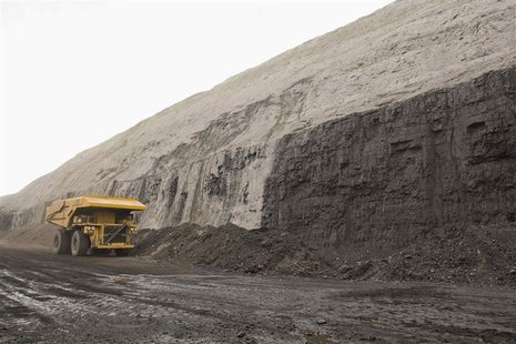 A haul truck is pictured at a coal seam at a coal mine in the Powder River Basin in Wyoming in this undated handout photo obtained by Reuter