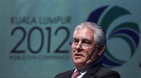 Chairman and Chief Executive Officer of Exxon Mobil Corporation Rex Tillerson speaks during the World Gas Conference 2012 in Kuala Lumpur Ju