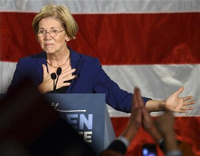 REFILE - QUALITY REPEAT Democratic candidate for the U.S. Senate seat for Massachusetts Elizabeth Warren addresses supporters during her vic