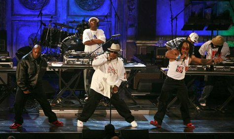Inductees Grandmaster Flash (Joseph Saddler) (back) and The Furious Five perform during the 22nd annual Rock and Roll Hall of Fame induction