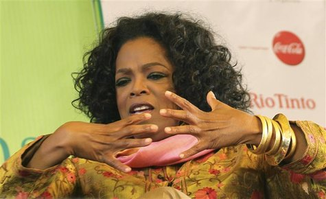 Entertainment host Oprah Winfrey speaks at the annual Literature Festival in Jaipur, capital of India's desert state of Rajasthan, January 2