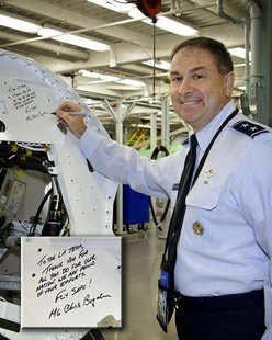 F-35 Deputy Program Executive Officer U.S. Air Force Lieutenant General Christopher Bogdan poses during his inaugural visit to meet with emp