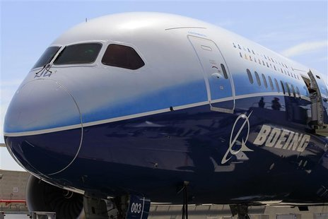 The Boeing 787 Dreamliner airplane is seen in Long Beach, California March 14, 2012. REUTERS/Lucy Nicholson