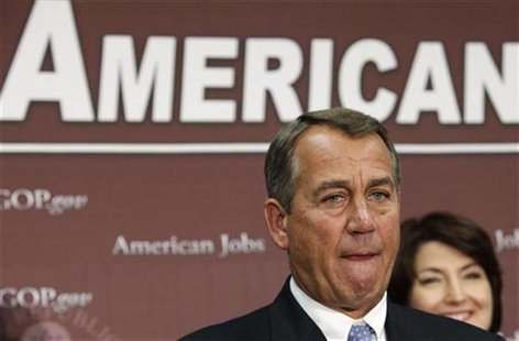 U.S. House Speaker John Boehner (R-OH) pauses during a news conference on the fiscal cliff, after a closed GOP meeting at Capitol Hill in Wa