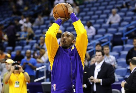 Los Angeles Lakers shooting guard Kobe Bryant (24) warms up prior to their NBA basketball game against the New Orleans Hornets in New Orlean