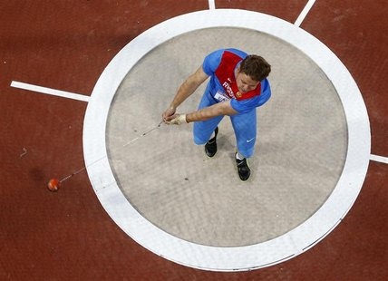 Russia's Kirill Ikonnikov competes in the men's hammer throw final during the London 2012 Olympic Games at the Olympic Stadium August 5, 201