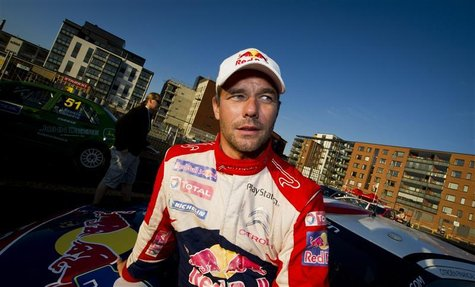 Winner of rally Sebastien Loeb is seen after the FIA World Rally Championship WRC Neste Oil Rally Finland near Jyvaskyla August 4, 2012. REU