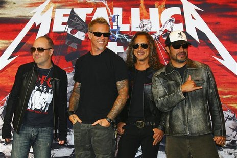 From L - R: Drummer Lars Ulrich, lead vocalist James Hetfield, guitarist Kirk Hammett and bassist Robert Trujillo of the heavy metal band Me