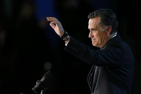 Republican presidential nominee Mitt Romney gestures as he gives his concession speech after losing the election to President Barack Obama,