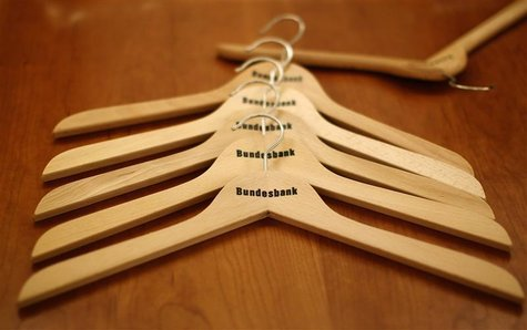 Clothes hangers are seen at Deutsche Bundesbank during a work group meeting for tax estimation in Frankfurt October 29, 2012. REUTERS/Lisi N