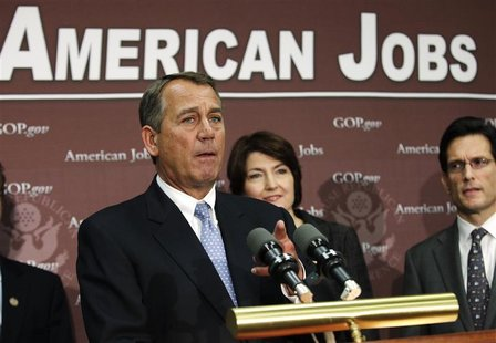 U.S. House Speaker John Boehner (R-OH) gestures during a news conference on the fiscal cliff, after a closed GOP meeting at Capitol Hill in