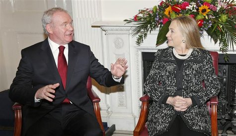 U.S. Secretary of State Hillary Clinton meets with Northern Ireland's Deputy First Minister Martin McGuinness at Stormont Castle in Belfast