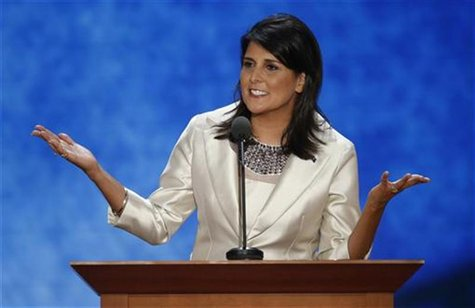 South Carolina Governor Nikki Haley addresses the second session of the Republican National Convention in Tampa, Florida August 28, 2012. RE