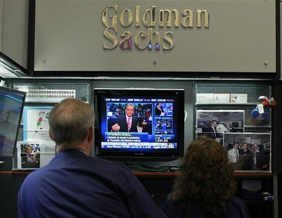 Traders work in the Goldman Sachs stall on the floor of the New York Stock Exchange July 16, 2010. REUTERS/Brendan McDermid