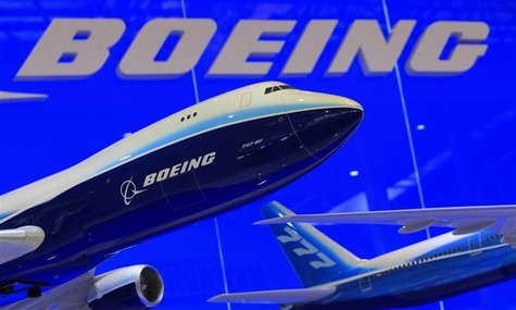 Models of Boeing 747 and 777 passenger planes are displayed at the Boeing booth as part of the China International Aviation & Aerospace Exhi