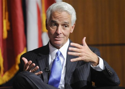 Former Governor of Florida Charlie Crist answers a question during the University of Southern California's Schwarzenegger Institute for Stat