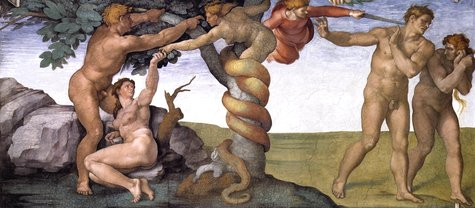The Sistine Chapel features this depiction of SIN in the form of forbidden fruit.