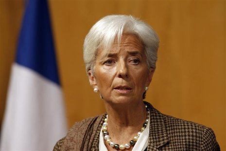 "International Monetary Fund (IMF) Managing Director Christine Lagarde speaks during the conference ""Growth and integration in solidarity: wh"