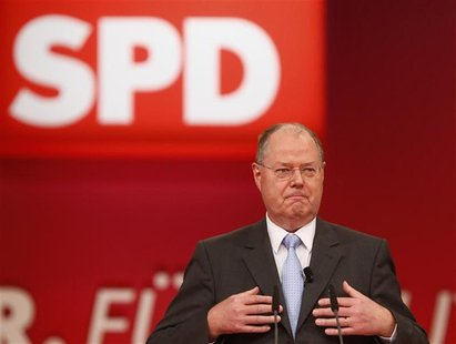 Designated top candidate of the German Social Democratic Party (SPD) for the 2013 German general elections, Peer Steinbrueck speaks during t