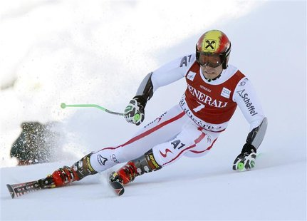 Marcel Hirscher of Austria skis during the first leg in the Men's World Cup Giant Slalom skiing race in Val d'Isere, French Alps, December 9