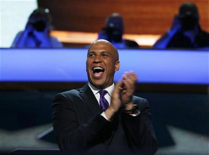 Mayor of Newark, New Jersey, Cory A. Booker reacts during the first day of the Democratic National Convention in Charlotte, North Carolina S