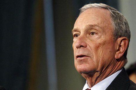 New York Mayor Michael Bloomberg speaks to the media during a news conference about Updates to New Yorkers on Preparations for Hurricane San