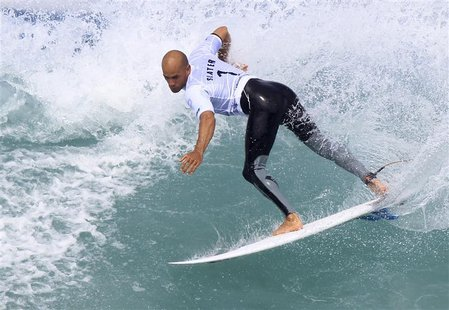 Ten-time ASP World Surfing Champuion Kelly Slater of the U.S. surfs during the men's Association of Surfing Professionals (ASP) Billabong Ri