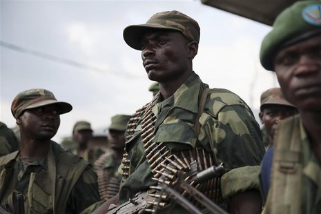 Government army FARDC soldiers stand in a military base in Goma December 3, 2012. REUTERS/Goran Tomasevic