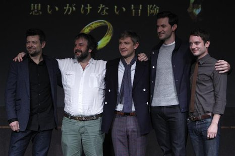 New Zealand director Peter Jackson (2nd L) and cast members Andy Serkis (L), Martin Freeman (3rd L), Richard Armitage (2nd R) and Elijah Woo