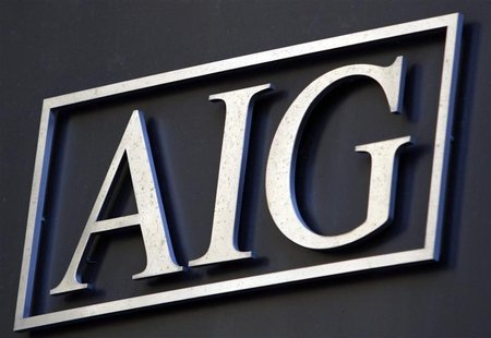 The logo of American International Group Inc. (AIG) on the outside of their corporate headquarters in New York, November 10, 2008. REUTERS/M