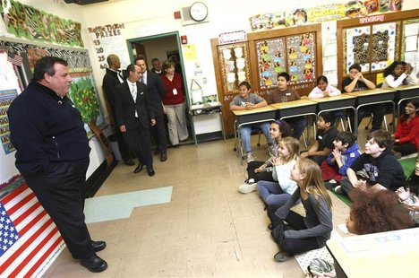 New Jersey Governor Chris Christie visits fifth grade students at Berkeley Elementary School in Westwood, New Jersey, November 6, 2012 in th
