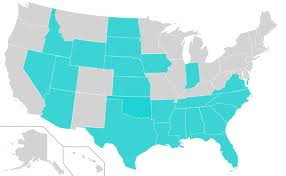 The blue states in this map are states that already have right to work laws in place.