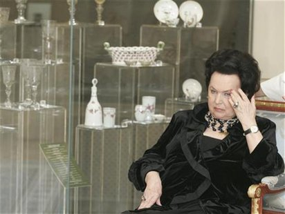 File photo of Russian opera singer Galina Vishnevskaya sitting at the opening ceremony of an exhibition in Konstantinovsky Palace in St.Pete