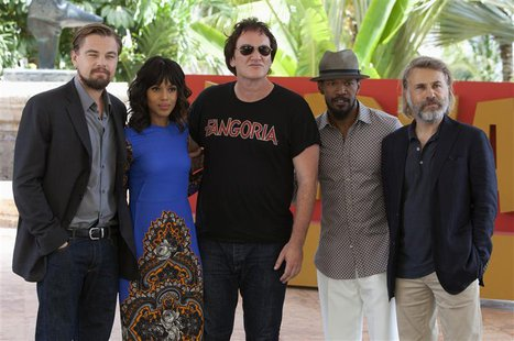 Director Quentin Tarantino (C) poses with (L-R) U.S actors Leonardo DiCaprio, Kerry Washington, Jamie Foxx and Austrian actor Christoph Walt
