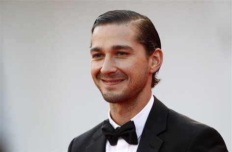 "Actor Shia LaBeouf poses on the red carpet during a screening for the movie ""The Company You Keep"" at the 69th Venice Film Festival Septembe"