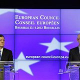 European Commission President Jose Manuel Barroso (L) and Council President Herman Van Rompuy hold a news conference at the end of an EU lea