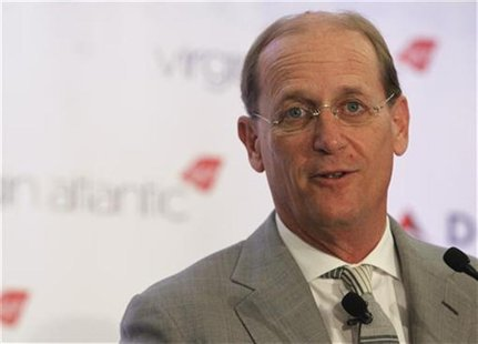 Delta Chief Executive Richard Anderson speaks during a news conference to announce the sale of Virgin Atlantic airline to Delta Air Lines, i