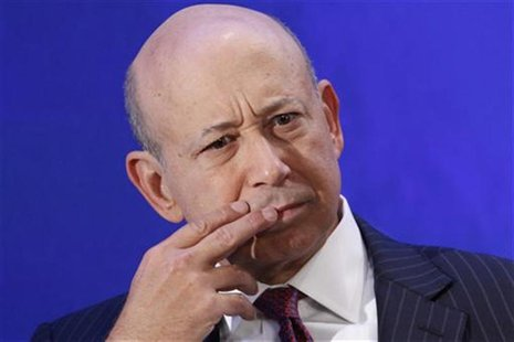 "Lloyd Blankfein, Chairman and CEO of Goldman Sachs, participates in a group discussion on ""Business by Design: Business with Integrity"" duri"