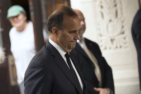 Former New York Yankees baseball coach Joe Torre leaves the funeral service for award-winning composer Marvin Hamlisch in New York, August 1