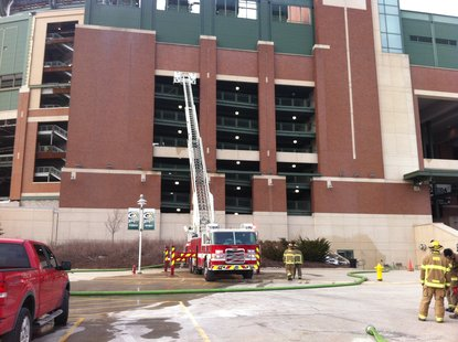 Crews respond to fire at Lambeau Field on 12-12-12.