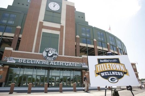 Bellin Health Gate, with Lombardi Clock, at Lambeau Field (courtesy of Packers.com)